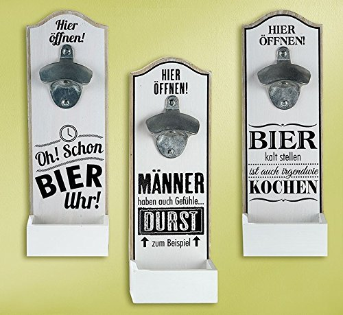 GILDE Wand - Bierflaschenöffner mit witzigem Spruch MDF 30x10cm Geschenk Dekoration (Oh! Schon Bier Uhr)