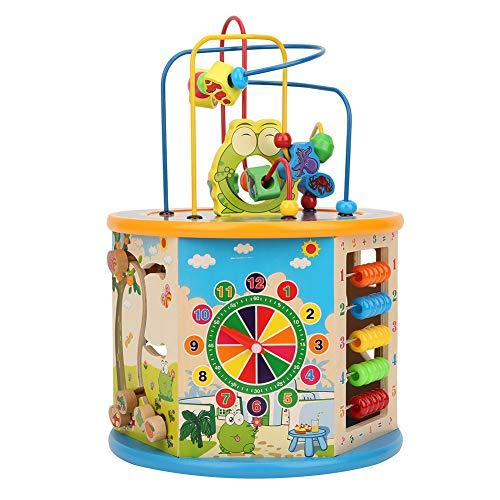 Cubo de Actividad, Cubo de Madera para Actividades 8 en 1 Caja de Seis Caras con Laberinto de Cuentas, Ajedrez, Volteo Digital, Engranaje Giratorio Exquisito Juguetes Educativos Multiusos para(1)