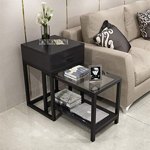 LJQLXJ tavolino da caffè Mobili Soggiorno tavolino Balcone tavolino Camera da Letto Semplice Moderno tavolino Quadrato in Vetro, con cassetto