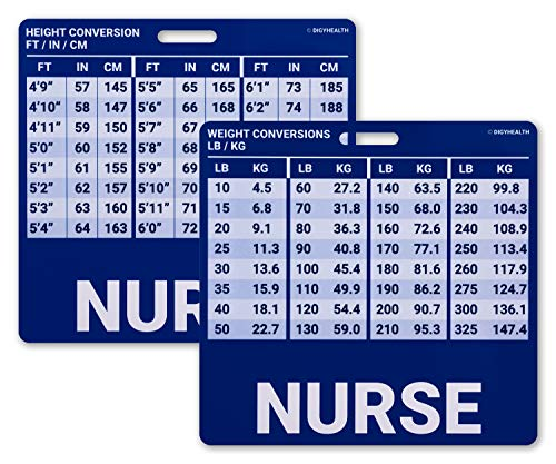 """Nurse Badge Reference Card Height Weight Nurse Badge - Profession Recognition for Badge Reel - Nursing Height & Weight Conversion Chart (3.25"""" x 3.25"""")"""