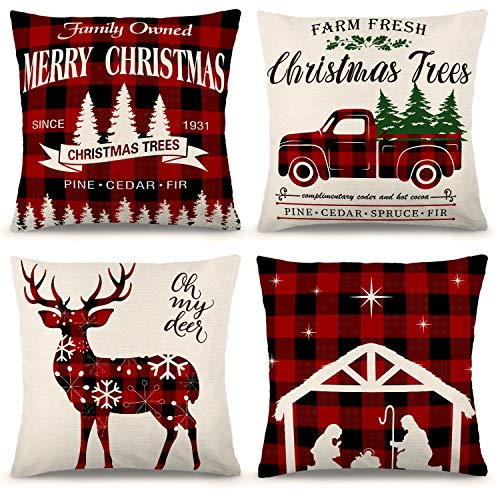 ZJHAI Christmas Pillow Covers 18×18 Inch Set of 4 Farmhouse Buffalo Plaid Pillow Covers Holiday Rustic Linen Pillow Case for Sofa Couch Christmas Decorations Throw Pillow Covers