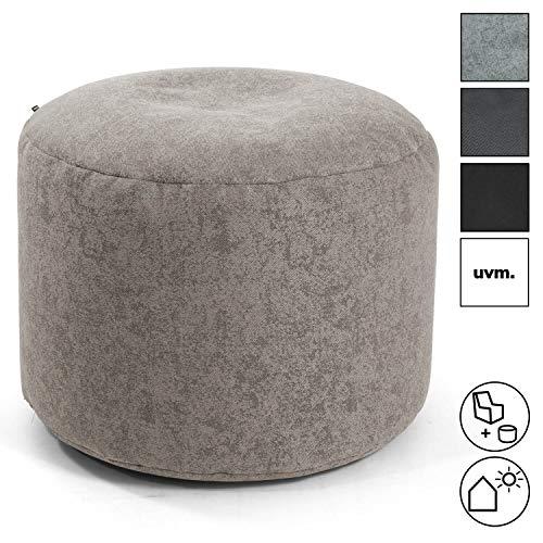 mokebo® Pouf 'Der Ruhepouf' rundes Sitzkissen Indoor & Outdoor oder Hocker, Made in Schwarzwald, Webstoff in Beige 009