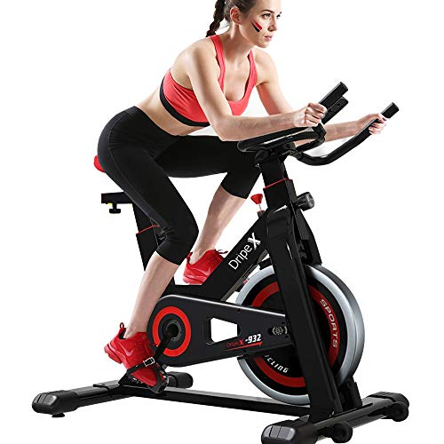 Dripex Upright Exercise Bikes (Indoor Studio Cycles) - Studio Quality with Heart Rate Monitor, Large Bidirectional Flywheel, Silent Belt Drive, Infinite Resistance