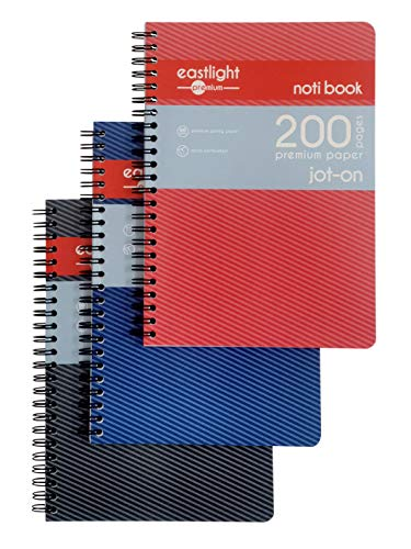 Eastlight A5 Jot-On Notebook Wirebound, Ruled & Perforated, 200 Pages, Assorted Colours, Pack of 3