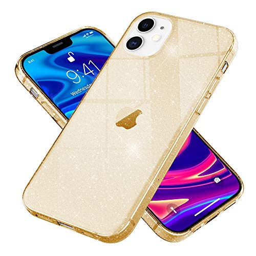 Kaliroo Handyhülle Glitzer kompatibel mit iPhone 12   iPhone 12 PRO Hülle, Durchsichtige Diamant Silikon Schutzhülle Glitter Hülle, Ultra-Slim Cover Bling Handy-Tasche Strass Bumper, Farbe:Gold