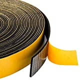 Foam Strips Adhesive 1 Inch Wide X 1/16 Inch Thick, 1.5mm Close Cell Foam Rubber Weather Stripping Tape Seal for Doors Insulation, Total 33 Feet Long