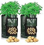 Bolsas para cultivo de patatas, 70 l (10 galones), 35 x 45 cm, bolsas para macetas con ventana abatible y asa, hortalizas de cultivo: patata, zanahoria, tomate, cebolla (paquete de 2)