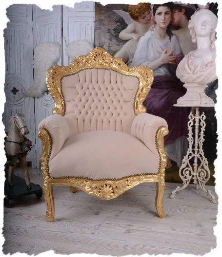 BAROCK Stuhl Vintage Sessel BEIGE Gold BAROCKSESSEL KÖNIGLICH Palazzo Exclusiv