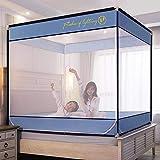 Mosquiteras2020 cama cuadrada simple tipo de cama cama sentada mosquitera mosquitera de tres puertas soporte de pintura para hornear cifrado aumento de mosquitera anticaída Bentley Blue 1.8 * 2.2 c