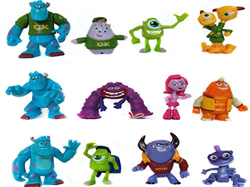 FunnyToy Monster Inc Cake Toppers – 12 pcs Cupcake Figurines for Party Décor – 1-4-inch-Tall Monsters Inc Party Supplies for Toddlers with Wazowski Keychain Materials