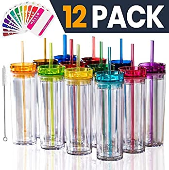 SKINNY TUMBLERS 12 Colored Acrylic Tumblers with Lids and Straws