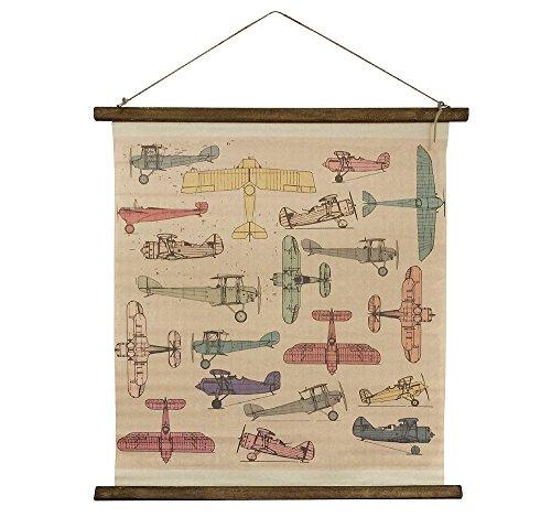 Schulwandkarte Wandbild Flugzeuge Sachkunde Nostalgie Vintage Leinwand 65x70cm