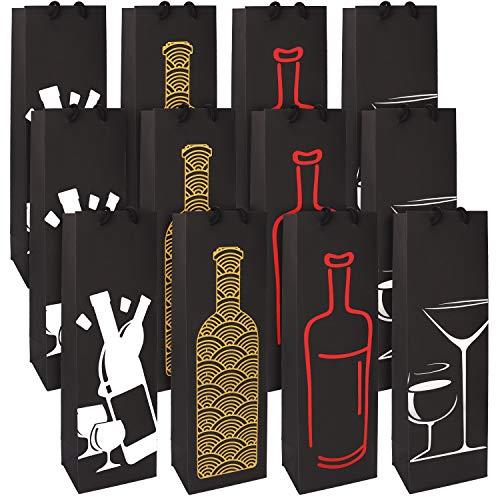 Bolsa Botella (Pack de 12) - Bolsas Botellas con Asas de Cuerda para Vino y Champan - Bolsas Papel Regalo para Fiestas, Cumpleaños, Fiesta de Aniversario y Cena - Bolsa de Regalo (Una Botella)