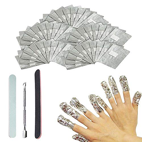 Komake Nail Polish Remover Wraps Pads,200 Stück Aluminiumfolie Nagellack Remover Pads,1 Stück Nagelhaut Schieber,1 Nagelfeilen,1 Nagel Buffer Block,Hilfsmittel zum Einfachen Entfernen von Nagellack