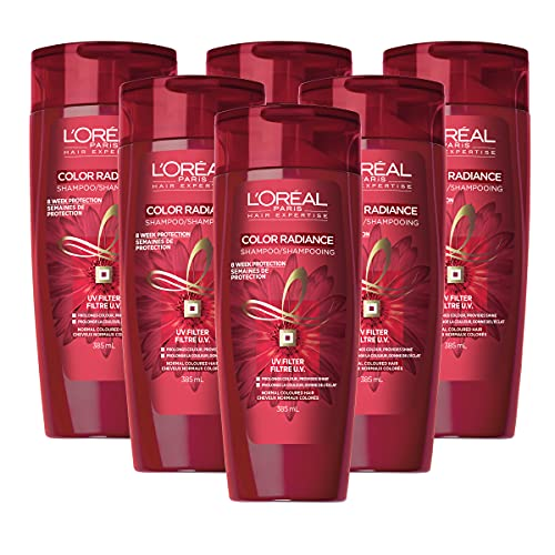 L'Oreal Paris Shampoo for Dry Colour Treated Hair, UV Protection and Shine, Color Radiance, 385mL (Pack of 6)
