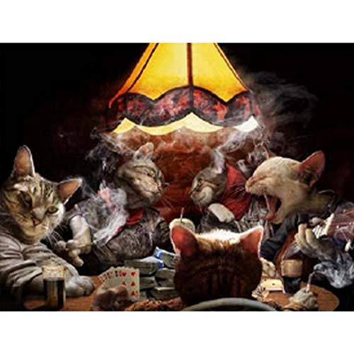Poker Cats 3D Poster Wall Art Decor Print | 11.8 x 15.7 | Lenticular Posters & Pictures | Trippy Memorabilia Gifts for Guys & Girls Bedroom | Funny Parody Art & Cool Fantasy Movie TV Show Picture