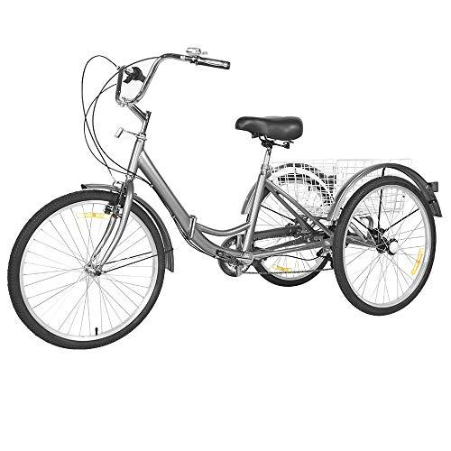 OUTIDOJO Bicicleta de Tres Rueda de 7 Velocidades Triciclo Plegable con Cesta para Adultos y Mayores 24 Pulgadas Gris Plateado