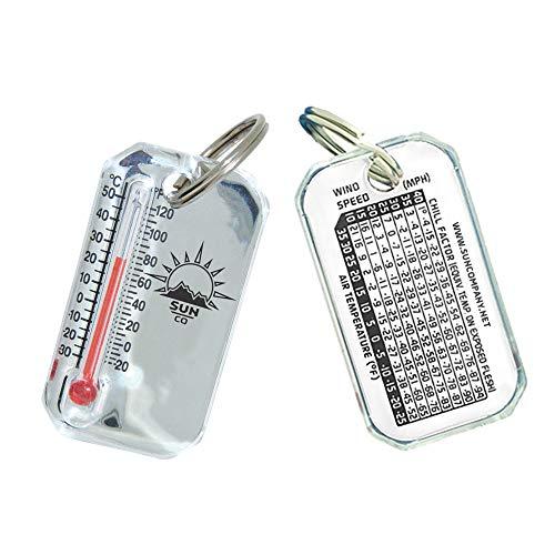 Sun Company Termómetro de cromo brillante Zip-o-gage – Zipperpull para chaqueta, parka o pack | Termómetro exterior con mosquetón y tabla de viento en la parte posterior...
