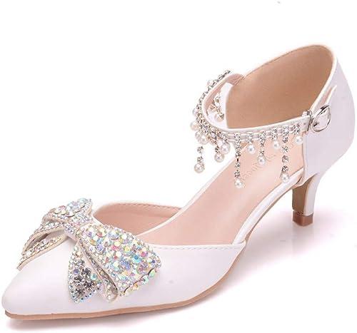 SYXLBDK Chaussures Femme Décontracté Pointe Talon Creux 5 Cm De Haut des Sandales des Diamants des Arcs des Chaussures des Perles des Chaussures De Mariage