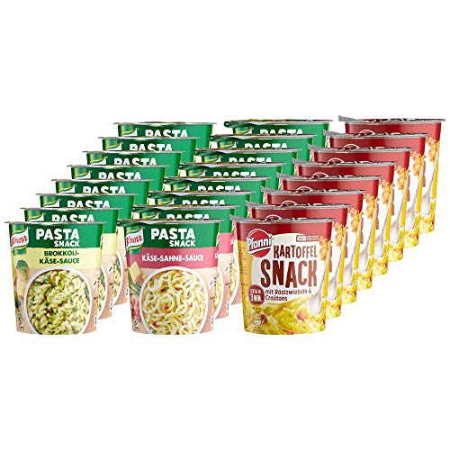 Knorr Pasta und Kartoffel, Käse-Sahne Sauce (8x), Brokkoli Käse Sauce (8x) Pfanni Kartoffelpüree Röstzwiebeln Croutons (8x) Sortimentskarton, 1er Pack (1 x 1.568 kg)
