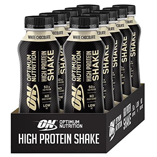 Optimum Nutrition ON High Protein Shake, Frullato Proteico con Proteine Whey, Milkshake Pronto da Bere per Aumento della Massa Muscolare, Cioccolato Bianco, Cofezione da 10, 10x500ml