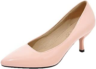 VogueZone009 Women's Solid Patent Leather Kitten-Heels Pointed-Toe Pumps-Shoes, Pink, 37