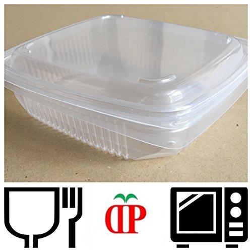 GGroup 13 Formati SELEZIONABILI - 50 Pezzi VASCHETTE per Alimenti Uso Caldo con Coperchio per MICRONDE (PP 760cc 190x185x49)