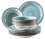 Mäser, Serie Bel Tempo, Teller-Set aus Steingut, 12-teilig für 6 Personen, Tafelservice Vintage, handbemalt, hellblau