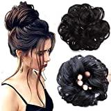 Messy Bun Hair Piece Hair Scrunchies Extension Curly Wavy Messy Synthetic Chignon for Women Updo Hairpiece (Natural Black)