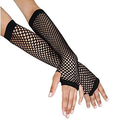 Guantes largos de malla negra para mujer, sin dedos, para bailar, gótico, punk rock, disfraz de fantasía, delete