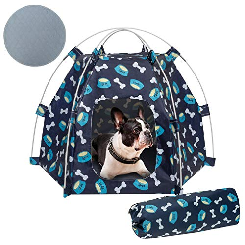 KOOLTAIL UV Resistant Pet Tent - Portable and Foldable Dog Tent Bed with Washable Pee Pad, Waterproof Pet Tent for Small Dogs Cats with Carry Bag for Outdoor, Puppy Playpen