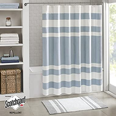 Madison Park Spa Waffle Weave Striped Fabric Shower Curtain, Classic Shower Curtains for Bathroom, 72 X 72 , Blue