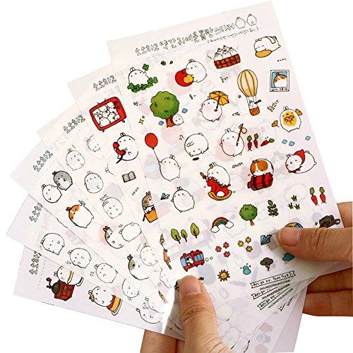 Demarkt 6 x Diario transparente Pegatinas DIY Diario Scrapbooking Deko Diario Cuaderno Cuaderno Pegatinas Decoración 10 * 16 cm