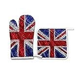 Juego de 2 manoplas de horno y soportes para ollas, guantes de cocina resistentes al calor, guantes de barbacoa de cocina, regalo para hornear, parrilla, bandera de Inglaterra