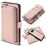 Galaxy S8 Plus Case Flip,Vandot PU Leather Multi-Function [Magnetic Detachable] Zipper Wallet Case Pocket Purse with Card Slots Shock-Absorption Protective Cover Shell for Samsung Galaxy S8 Plus-Pink