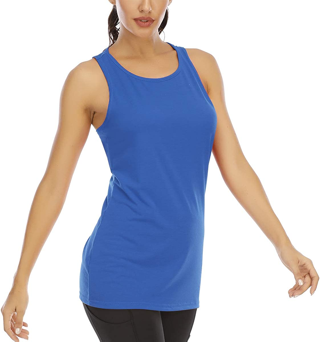 Aonour Workout Tops for Women Loose fit Mesh Back Running Shirts Excerise Gym Shirts Yoga Tank Tops