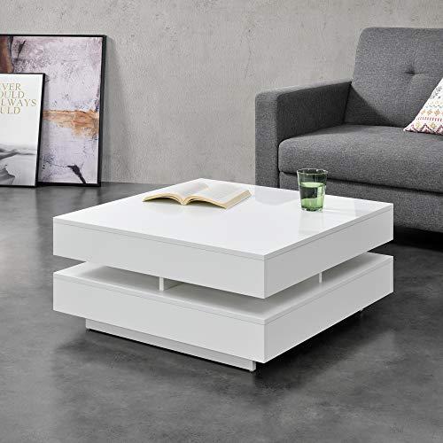 [en.casa] Mesa de Centro 75 x 75 x 35,5 cm Mesa Baja Mesa de Salón Auxiliar Mesa de café Blanco Brillo