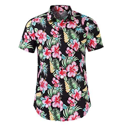Forro de Manga Corta para Hombre Cortavientos Hawaiano de Verano Vacaciones en la Playa Ocio Camisa Estampada Europea y Americana Large