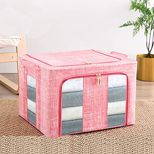 MIBYUZST Caja de almacenamiento apilable plegable organizador de ropa con ventanas transparentes asas de transporte para mantas, armarios, ropa de cama (rosa, 22 L)