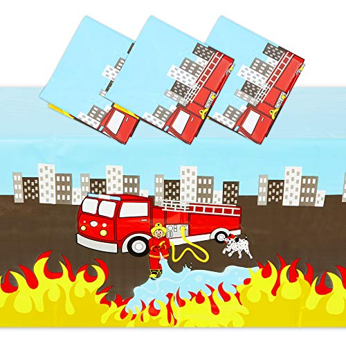 Fire Truck Plastic Tablecloth for Firefighter Birthday Party (54 x 108 In, 3 Pack)