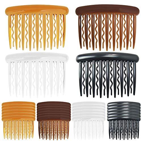 24 Stück Haarspange Kämme,Hair Combs Slides 4 Farben Kunststoff Haarkämme für feines Haar und Brautschleier