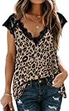 FLYCHEN Mujer Camisas sin Mangas Tops Muher Camisola Mangas Cortas de Encaje Patrón de Leopardo T-Shirt -1 Leopardo Amarillo, S