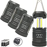 Gold Armour 4 Pack Portable LED Camping Lantern Flashlight with Magnetic Base - Emits 500 Lumens - Survival Kit Gear for Emergency, Hurricane, Power Outage with 12 aa Batteries (Gray)