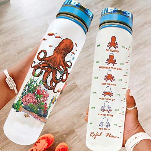 Bestwe Botella de agua con diseño de pulpo occéano, botella de agua de Tritan con marcas de tiempo, ligera, para deportes, fitness, exterior, senderismo, color blanco, 1000 ml