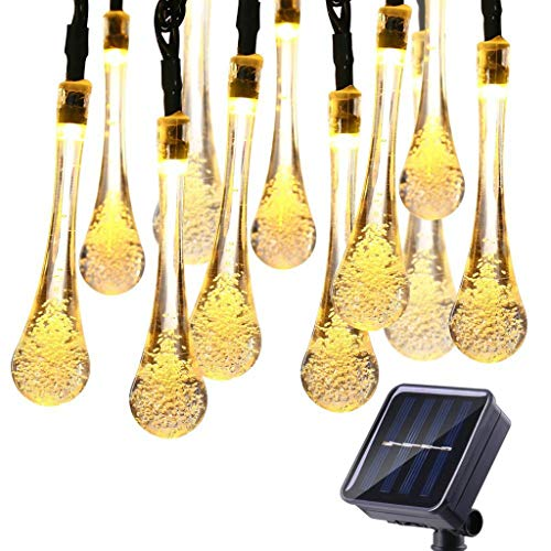 WXH Outdoor Solar String Lights,Waterproof LED Fairy Crystal Lights Water Drop Solar Powered Lights For Patio Garden Wedding Party Decor (Color : Warm light, Size : 19.7 ft)