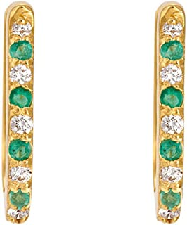 Gehna Yellow Gold, Emerald and Diamond Hoop Earrings for Women