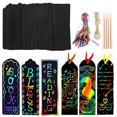 Segnalibro Scratch Art, kit di 45 biglietti magici con nastri di raso, penna in bambù per bambini, studenti, feste, attività scolastiche