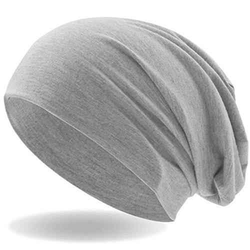 Klassische Slouch Long Beanie Mütze, leicht und weich, für Damen und Herren (Hellgrau)