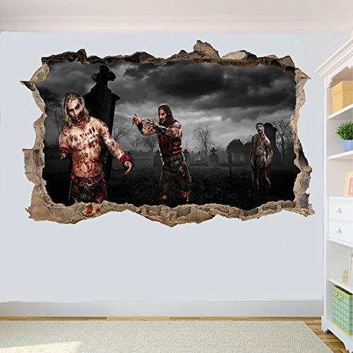 Adesivi Murali adesivo da parete Cimitero di Halloween Zombie Wall Sticker Art 3D Poster Applique Murale Decorazione della casa 80 * 120CM