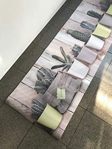 Tappeto Cucina Stuoia Corsia Passatoia Gommato Digitale Cactus Vasetto 10 misure (52x300)